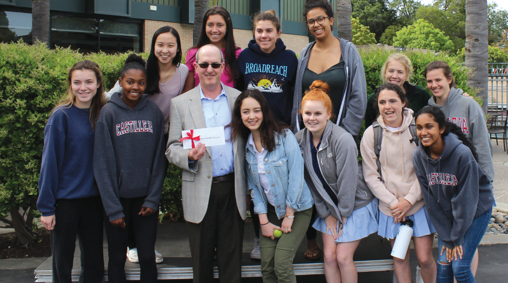 CHC's Director of Advancement Bill Gray and Castilleja students.