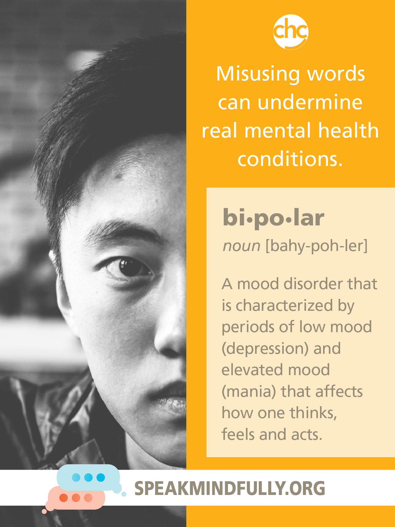 Speak Mindfully poster about bi-polar