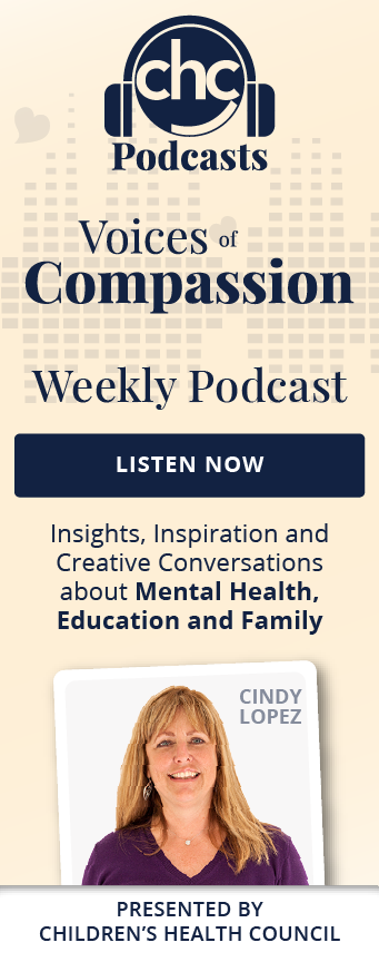 CHC Podcasts. Voices of Compassion. Weekly Podcast. Listen Now. Insights, inspiration and creative conversations about mental health, education and family. With Cindy Lopez. Presented by Children's Health Council.